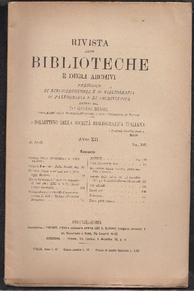 Rivista delle Biblioteche e degli Archivi Anno XII Volume XII Numero 11-12 Novembre-Dicembre 1901
